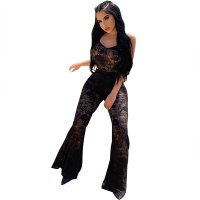 Lace Straps See Through Jumpsuit with Wide Leg