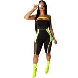 Mesh Splicing Perspective Strapless Bodysuit