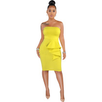 Richenda Lemon Strapless Ruffle Accent Midi Dress