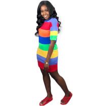 Colorful Striped Sexy Mini Dress