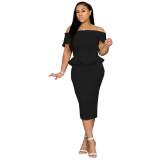Stylish Off The Shoulder Ruffle Design Mid Calf Dress