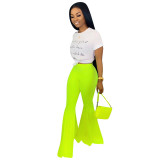 Solid Color Flared Pants