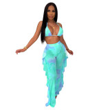 Casual Printed Mesh Two-piece Set with Panties