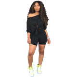 Casual Off-the-shoulder Umbilical Bandage Top and Shorts