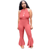 Casual Halter Backless Ruffled Jumpsuit