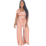 Casual Round Neck Striped Short Sleeve Jumpsuit with Wide-leg