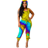 Casual Hooded Backless Print Sleeveless Jumpsuit