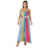 Sexy Striped Print Sling Jumpsuit with Wide Leg