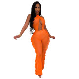 Casual Pure Color Mesh Jumpsuit with Underwear