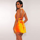 Casual Cute Backless Gradient Shorts Romper