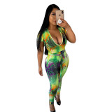 Casual Printed Round Neck Mesh Jumpsuit