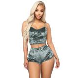 Casual Velvet Lace Two Piece Shorts Set