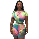 Casual Tie-dye Stitching Two Piece Outfits
