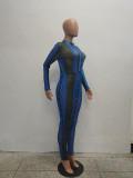 Casual Serpentine Mesh Printed Jumpsuits