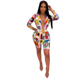 Women Floral Printed Off Official Two Pieces Sets