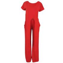 Casual One Shoulder Lace-up Two-piece Pants Set