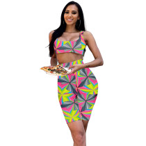 Casual Printed Two-piece Shorts Set