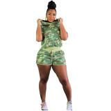 Tie Dye Camouflage Drawstring Pockets Hooded Shorts Set