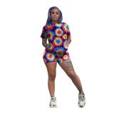 Bohemian O Neck Printed Multicolor Two-piece Shorts Set