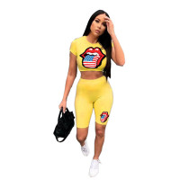 American Flag Print Short Sleeve Top & Shorts