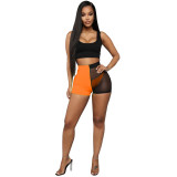 Casual Mesh Vest Top and Shorts Three-piece Set with Panties