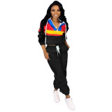 Casual Contrast Stitching Hooded Two Piece Set