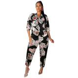 Casual Playing Cards Print Two Piece Outfits