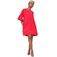Casual Trumpet Sleeve Stitching Mesh Shirt Midi Dress