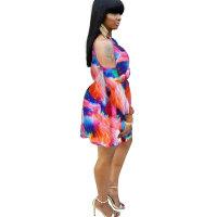 Tie Dye Cold Shoulder Mini Dress