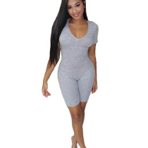 Casual Solid Color Threaded V Neck Romper