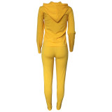 Casual Hooded Zipper Sports Two-piece Outfits
