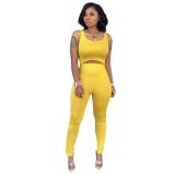 Soild Color Vest Sleeveless Cutout Jumpsuit
