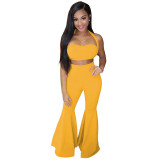 Solid Color Halter Two Piece Top and Wide Leg Trouser