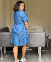 Casual Denim Loose Midi Dress