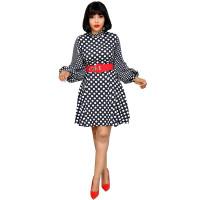 Wave Stitching Lantern Sleeves Plus Size Dress