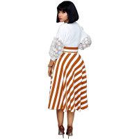 Petal Sleeve Stripe Stitching Plus Size Dress with Belt