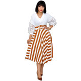 Petal Sleeve Stripe Stitching Plus Size Dress with Belt