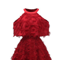 1950s Cold Shoulder High Neck Tassel Dress