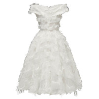 1950s Solid Strapless Fringed Dress