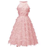1950s Round Neck Tassel Cocktail Evening Dress