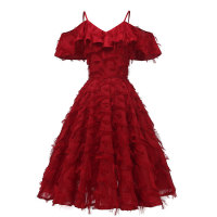 1950s Cold Shoulder Ruffle Tassel Dress