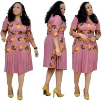 African Print Stitching Plus Size Pleated Dress
