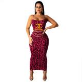 Classic Sleeveless Square Neck Leopard Print Bodycon Dress