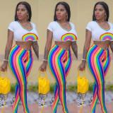 Rainbow Print Short Sleeve Top Colorful Stripe Pants Two Piece Set