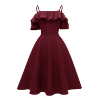 Straps Ruffled Shoulder Vintage Skater Dress