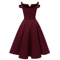 1950s V-neck Sling Evening Midi Skater Dress