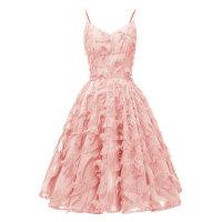 1950s Solid Strap Fringe Dress