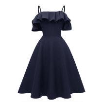 Straps Ruffled Shoulder Vintage Skater Dress