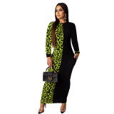 Casual Leopard Print Stitching Long Sleeve Maxi Dress