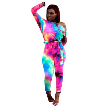 Tie Dyed Hollow Back Belted Pencil Jumpsuits